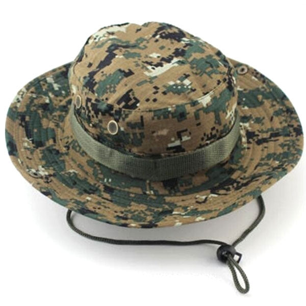Outdoor Hiking Tactical Combat Camo Fishing Cap Bucket Cap Digital Camouflage