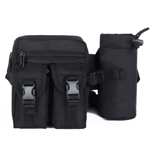Tactical Military Waist Bag Pouch Haversack Messenger Bag with Bottle Pack for Camping Hiking Black