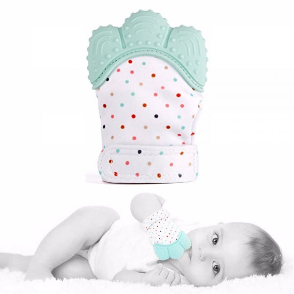 Teether Baby Teething Mittens Gloves Silicone Teething Toys for Baby - Mint Green