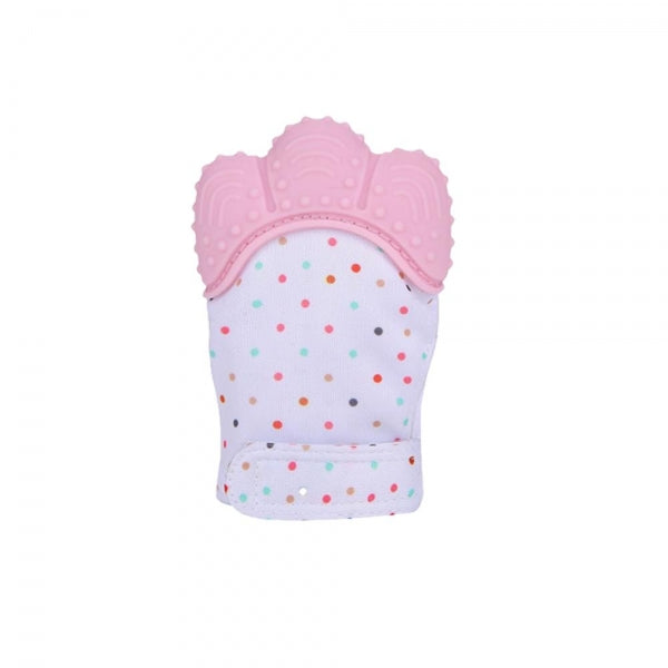 Teether Baby Teething Mittens Gloves Silicone Teething Toys for Baby - Pink