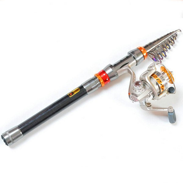 Telescopic Fishing Rod Carbon Spinning Sea Fishing Pole Hand Fishing Tackle Sea Rod 3M Black