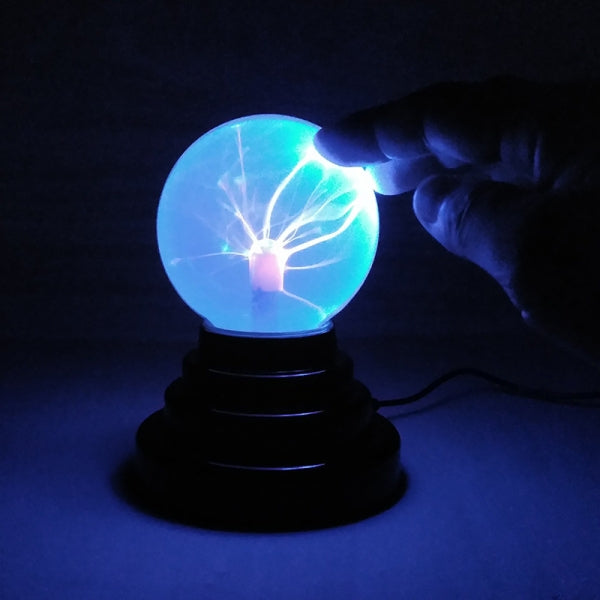 Touch Sensitive Magic Plasma Ball Novelty Night Light Atmosphere Lamp for Bedroom Office Bar Party Halloween Decoration - 3inch USB or Battery Blue Powered Blue