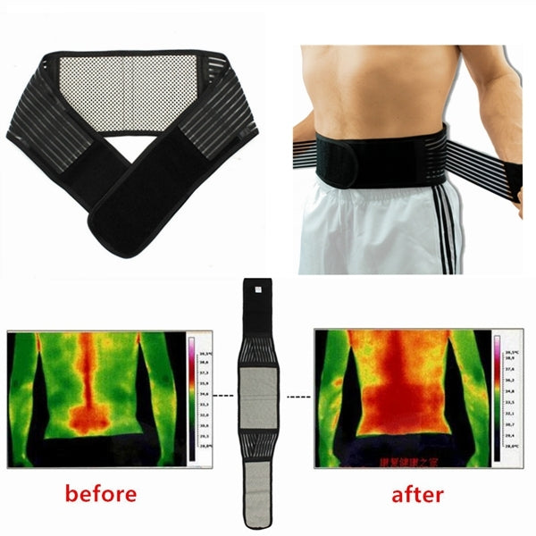 Tourmaline Magnetic Therapy Lower Back Waist Support Belt Self Heating Backache Pain Relief Belt Black XL