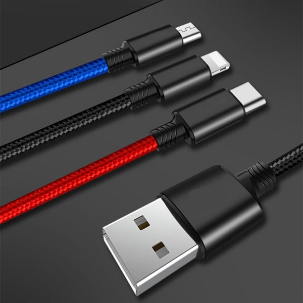 3 in 1 Multi Charging Cable Premium Nylon Braided Type C/Micro USB/Lightning Fast Charging Cord Connector Compatible for iPhone Samsung Cell Phone Smartphone - Tricolor