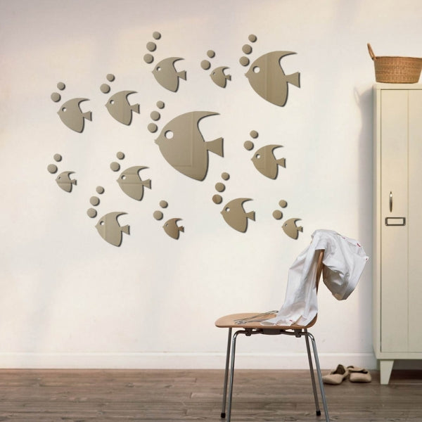 Tropical Fish Sticker Acrylic Mirror Sticker for Home Decoration Silver
