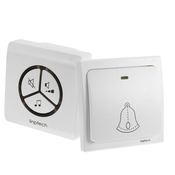 US PlugLinbell G1 Wireless Doorbell Self-generating Electricity Waterproof Automatic Generation Intelligent Pairing Doorbell White US Plug