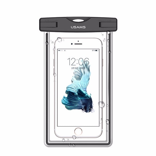 USAMS IPX8 Waterproof Case Touch Screen Luminous Transparent Window Dry Bag for Cellphone Under 6 Inch Black