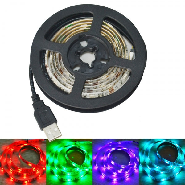USB 5V 15W 60-SMD 5050 Colorful RGB 60-LED Strip with 3-Key Controller (1m) White & Black