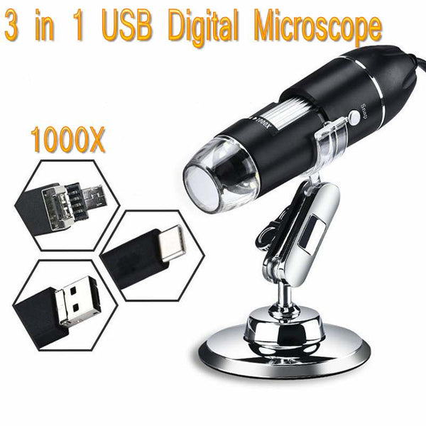 USB Digital Microscope Mini BGA Camera SMD 8 LED 1000x Mobile Electronic Microscope 3 in 1 MAC Android Type-c For Soldering