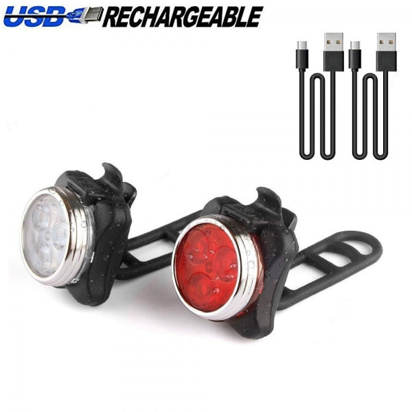 USB Rechargeable Super Bright LED Front and Back Rear Bicycle Lights