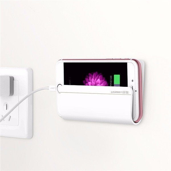 Ugreen Wall Charging Holder Mobile Stand Adhesive Strips Phone Charger Mount for iPhone Samsung HTC White