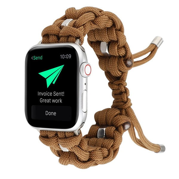 Umbrella rope strap for apple watch band 44mm 40mm 42mm 38mm iwatch 6/5/SE/4/3/2 Outdoor travel bracelet adjustable nylon belt
