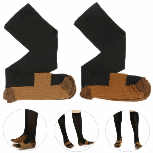 Unisex Copper Infused Varicose Veins Anti Fatigue Compression Stock Socks Black L/XL