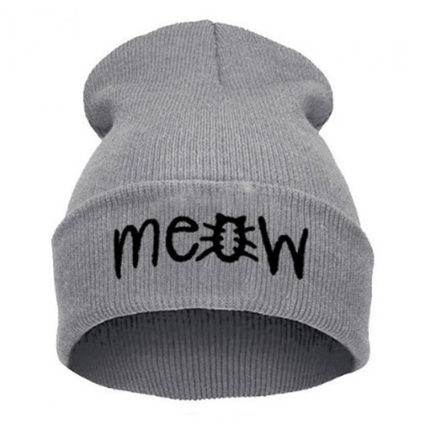 Unisex Fashion MEOW Cap Casual Hip-hop Knitted Wool Warm Winter Hat Light Gray