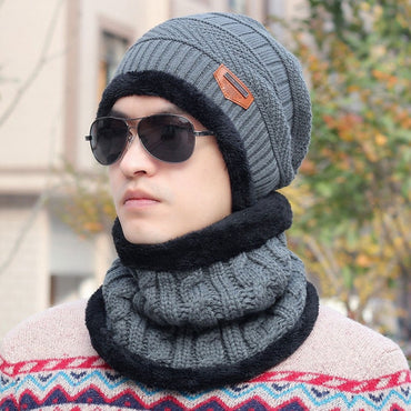 Unisex Winter Warm Knitted Wool Beanie Hat Cap with Neck Warmer Gray