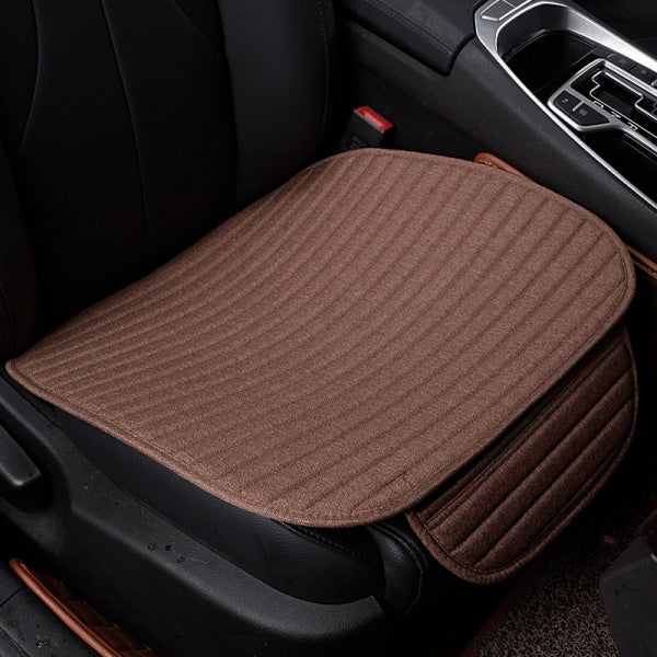 Universal Linen Ventilated Breathable Nonslip Car Front Seat Cushion Cover Pad Mat - Coffee