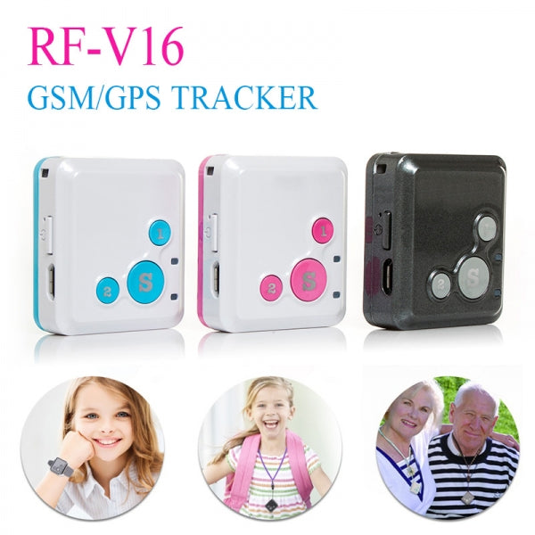 RF-V16 Mini Personal Locator GPS Real Time Tracker SOS Communicator Black