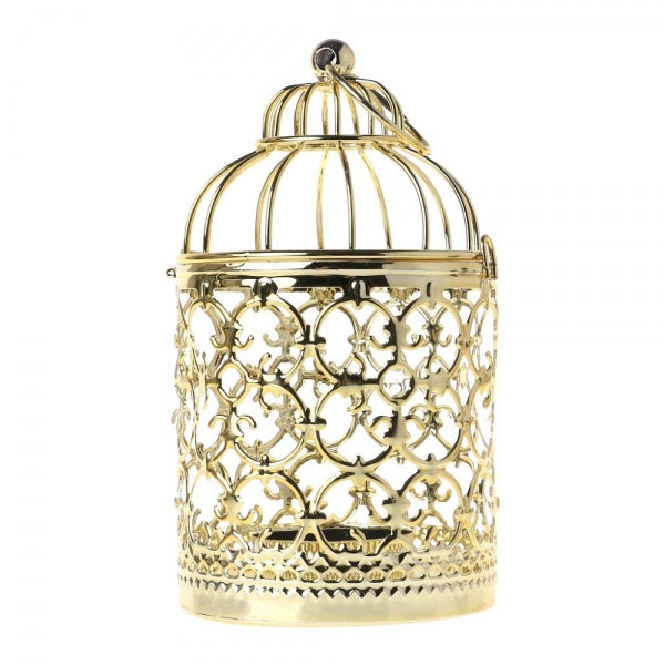 Vintage Hollow Birdcage Shaped Candle Holder Hanging Candlestick Decorative Tealight Lantern - Style A Gold
