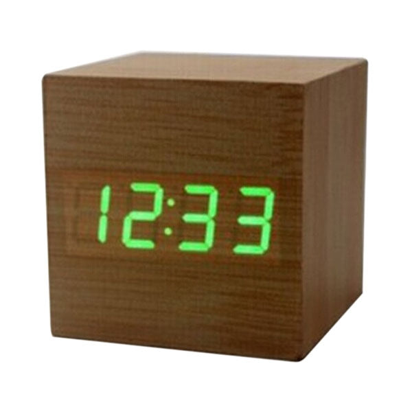 Cube Digital Voice Control Alarm Clock w/ Thermometer Calendar Rosewood & Green LED