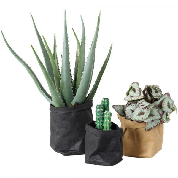 Washable Kraft Paper Bag Multifunction Wear-resistant Plant Flowers Pot - Black 8*8*15CM