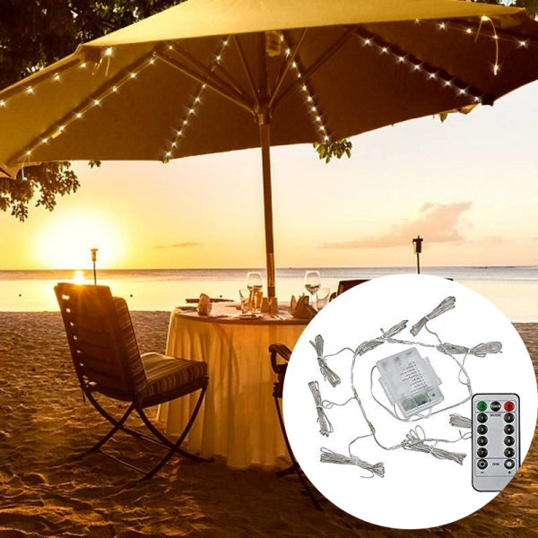 Waterproof Battery Operated 8 Lighting Mode 104 LED Patio Umbrella Light with Remote Control