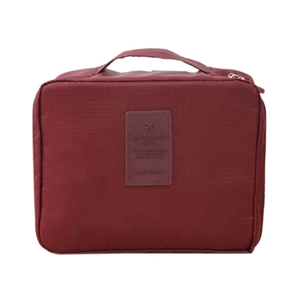 Waterproof Floral Nylon Zipper Women Makeup Cosmetic Bag Case Toiletry Storage Travel Wash Pouch Wine Red