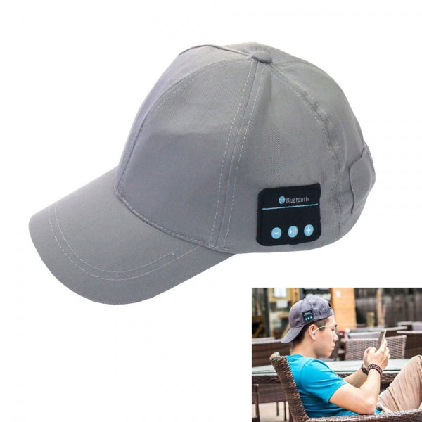 Bluetooth Baseball Cap Wearable Music Player Hat Hands-free Headset Gray