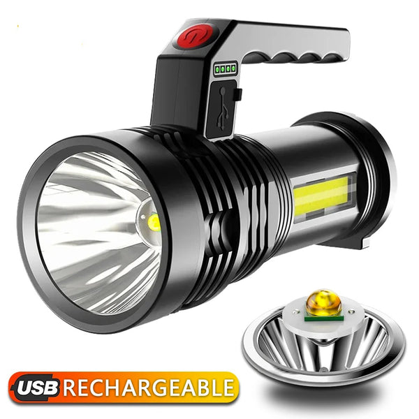 5000 lumens LED flashlight portable USB charging Built-in 3750mAh 18650 battery searchlight fishing light