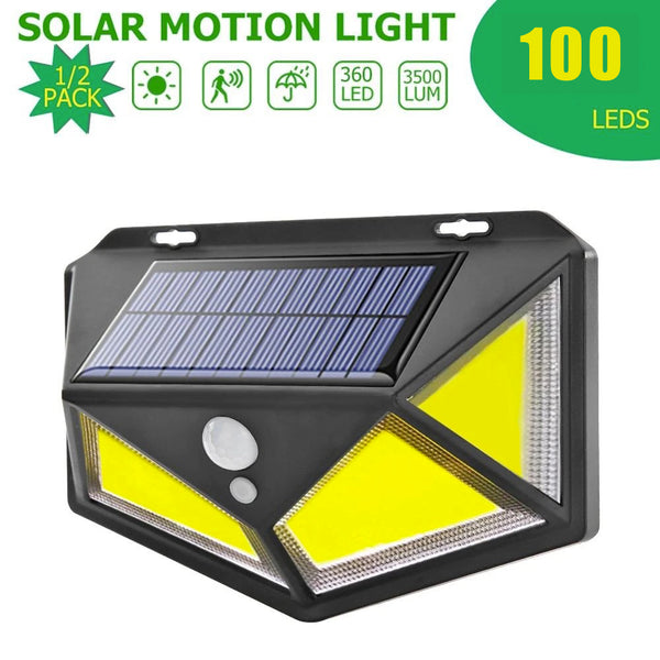 100 COB 1800mah LED Solar Wall Light Garden 4 Sides Luminous Induction Street Lamp