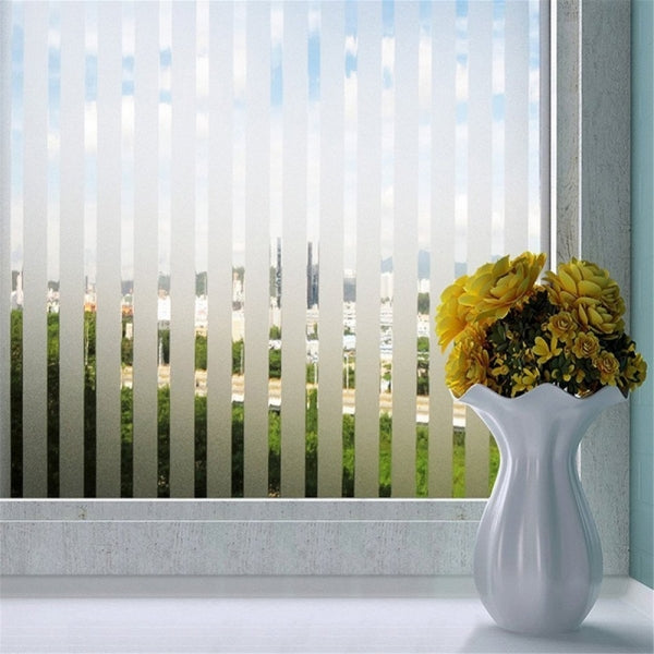 Lines Decorative Window Film Static Cling Self Adhesive Striped White Privacy Stained Glass Sticker for Home Office Shower Bathroom 45*200cm