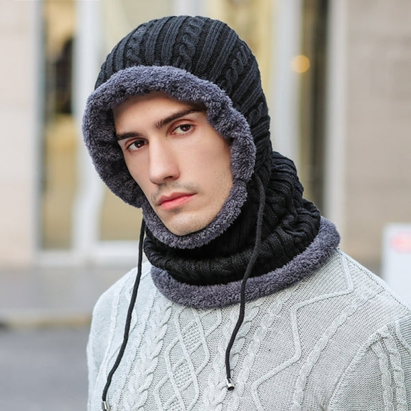 Windproof Knitted Hat Winter Warm Outdoor Thickening Scarves Unisex - Black