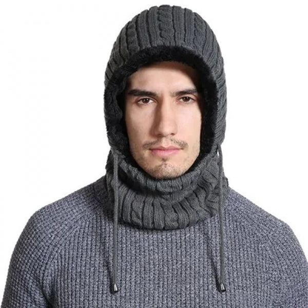 Windproof Knitted Hat Winter Warm Outdoor Thickening Scarves Unisex - Dark Gray