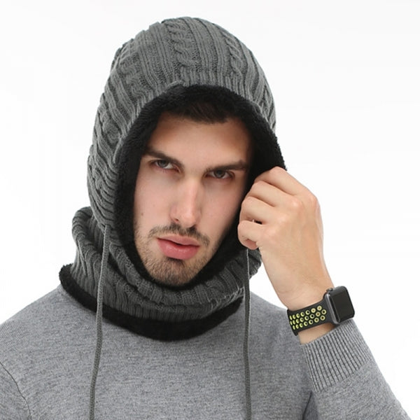Windproof Knitted Hat Winter Warm Outdoor Thickening Scarves Unisex - Light Gray