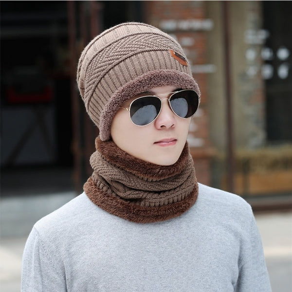 Winter Cold Proof Thickened Plush Hat Scarf Warm Knit Hat Men Women General Unified Size - Khaki