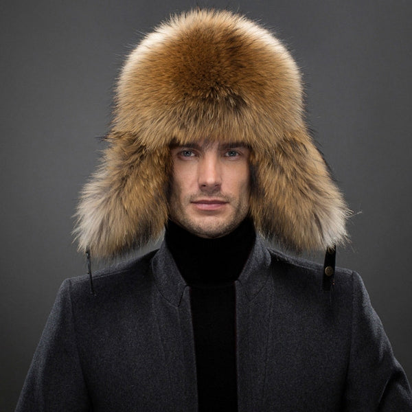 Men Women Fur Hat Winter Real Raccoon Fur Cap Fox Fur Genuine Leather Russia Aviator Hat Leifeng Hat Camel