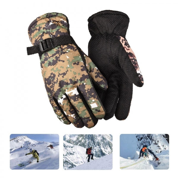 Winter Riding Gloves  Windproof Water-proof Anti-slip Cold Warm Thicking for Climbing/Cycling/Hiking - Coffee