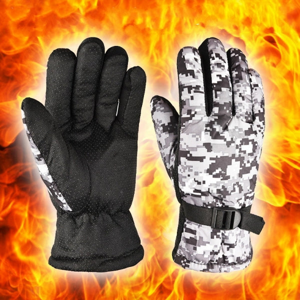 Winter Riding Gloves  Windproof Water-proof Anti-slip Cold Warm Thicking for Climbing/Cycling/Hiking - Gray