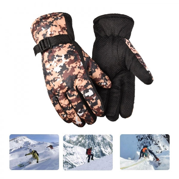Winter Riding Gloves  Windproof Water-proof Anti-slip Cold Warm Thicking for Climbing/Cycling/Hiking - Khaki