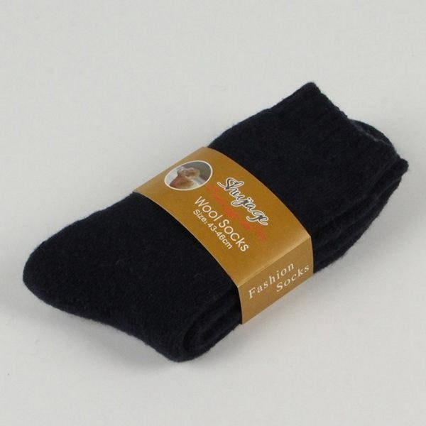 Winter Thickened Wool Socks Plush Warm Socks Men - A Pair Black
