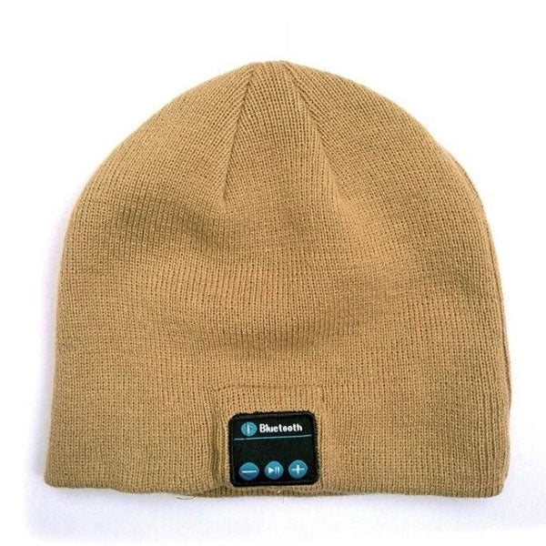 Wireless Bluetooth Music Warm Knitted Hat Speaker Headset for Smartphone Beige