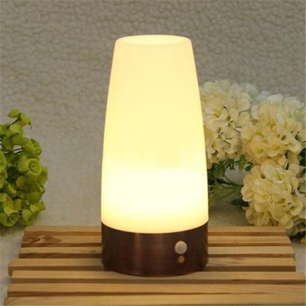 Wireless PIR Motion Sensor LED Night Light Battery Powered Table Lamp Round