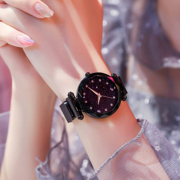 Women Fashion Magnetic Starry Sky Watch Geometric Surface Quartz Watches - Black