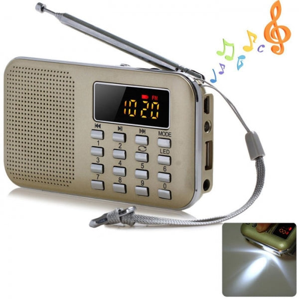Portable LCD Digita FM Radio USB SD TF Card Mp3 Music Player Golden