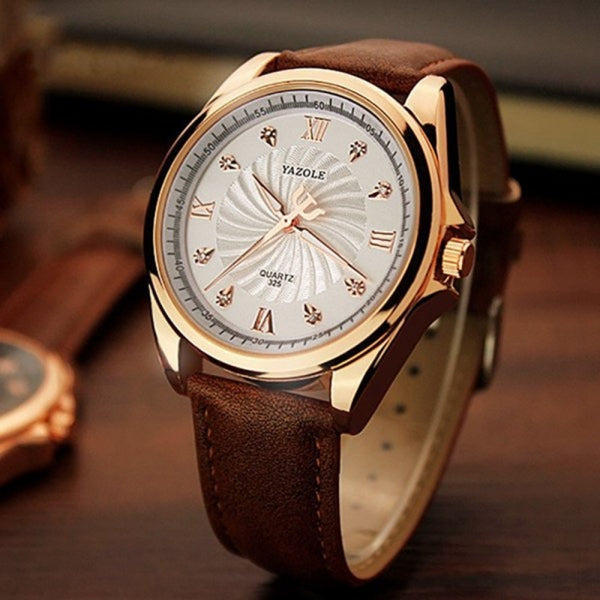 YAZOLE 325 Business Crystal Glass Large Round Dial Leather Band Quartz Men Wrist Watch White & Brown