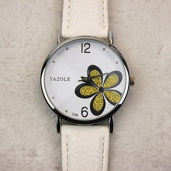 YAZOLE 338 Woman Korean Style Fashion Popular OL Style Flower Hardcover Quartz Watch White Dial & Golden Flower & White Band