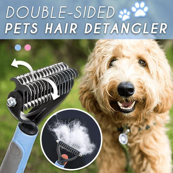 Pet Hair Removal Comb Stainless Double-Sided Brush Detangler Fur Trimming Dematting Deshedding Brush for Dogs Cats Grooming Tool