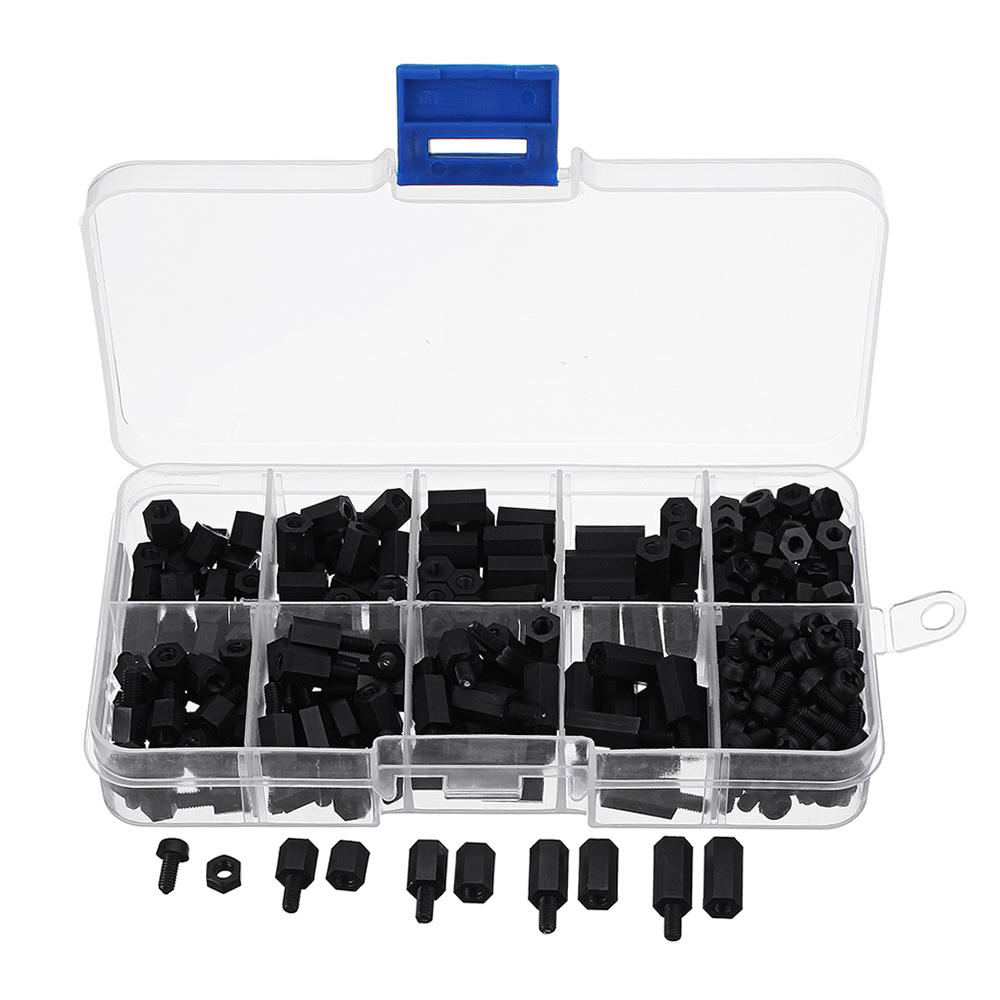 M3NH1 M3 Nylon Screw Black Hex Screw Nut Nylon PCB Standoff Assortment Kit 300pcs