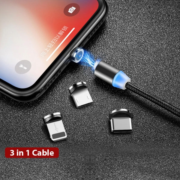 2M 3 in 1 Magnetic Fast Charging Cable With Micro USB Apple Lightning Type C Plugs for Android Phones Samsung iPhone iPad Smartphones
