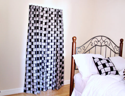 Black and White Wax Print  Curtains