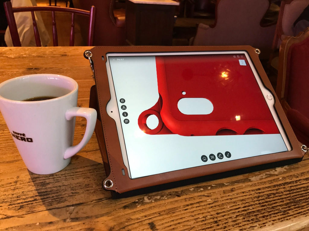 Developing a new case using CAD on iPad Pro.